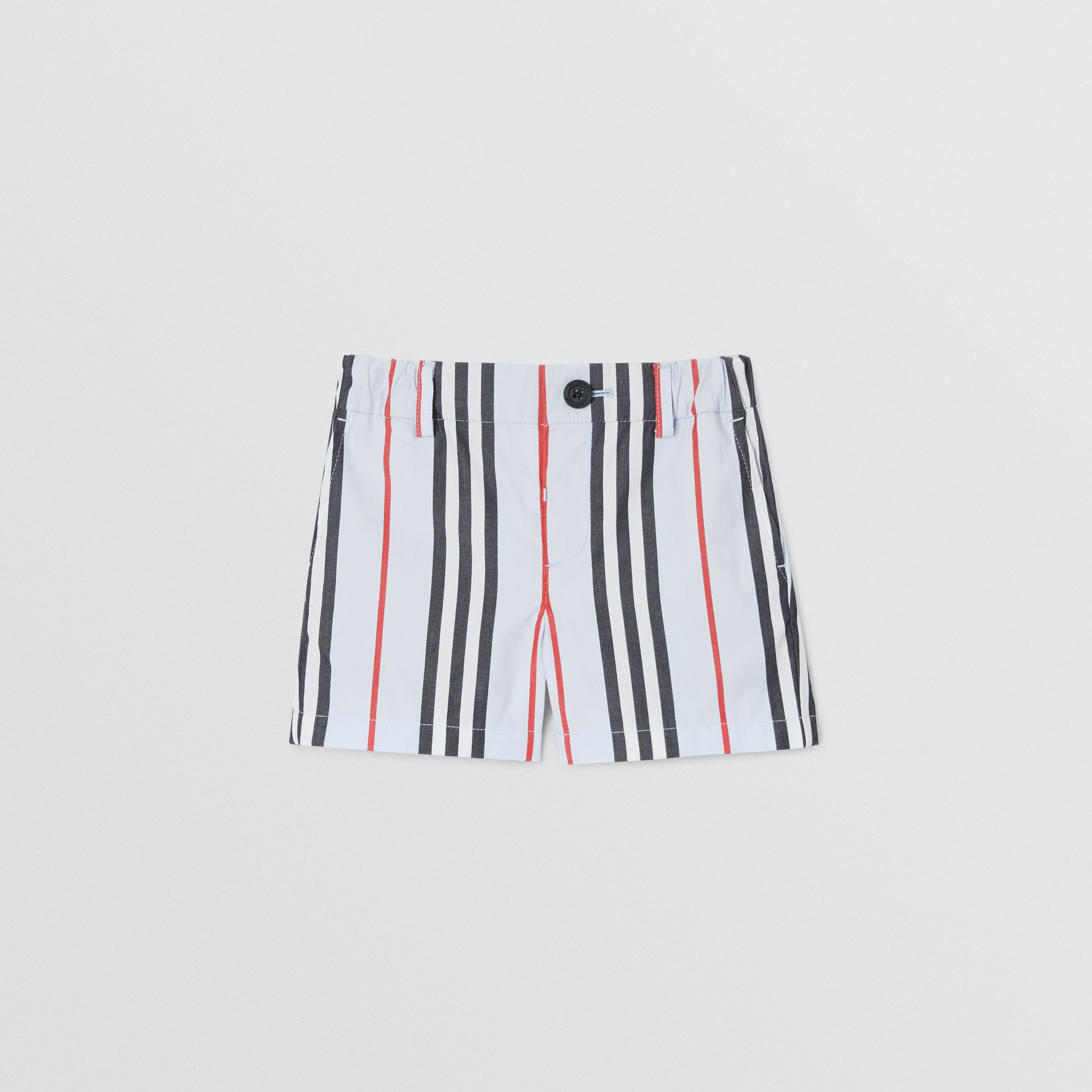 Icon Stripe Cotton Chino Shorts in Pale Blue - Children | Burberry United States - 1