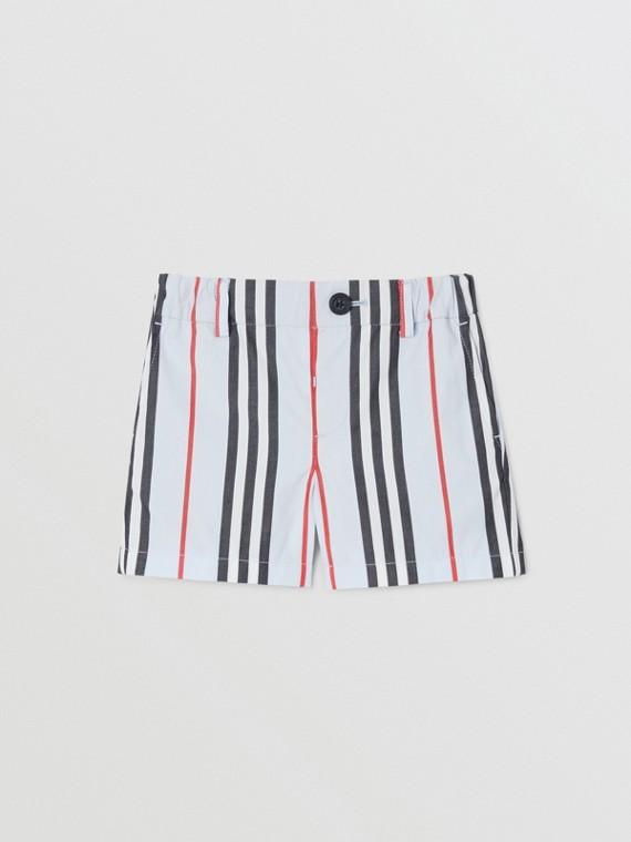 Icon Stripe Cotton Chino Shorts in Pale Blue