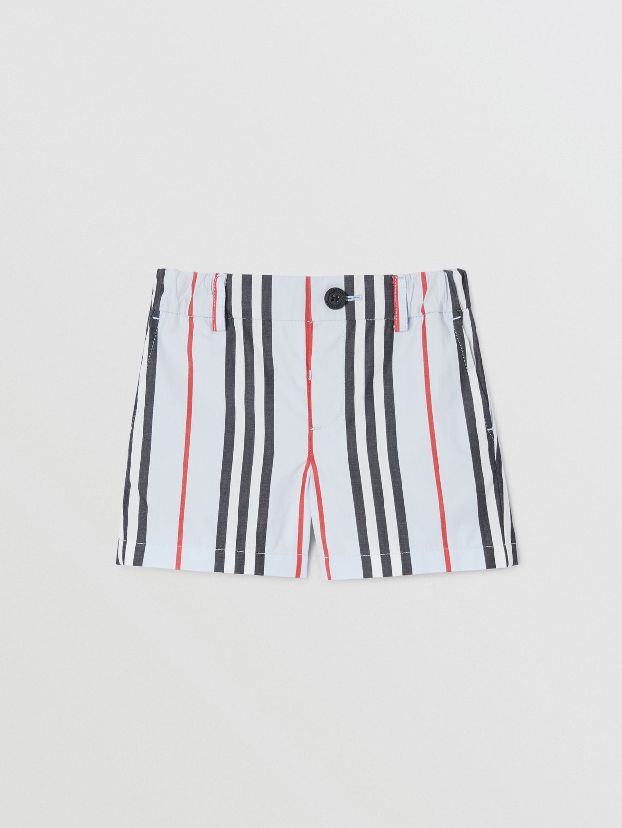 Icon Stripe Cotton Chino Shorts in Pale Blue