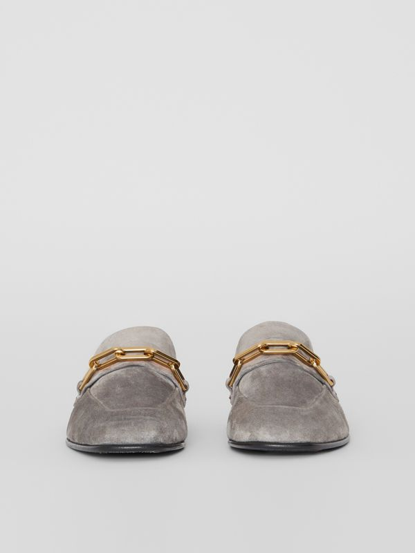 Link Detail Suede Loafers in Smokey Grey - Women | Burberry - cell image 3