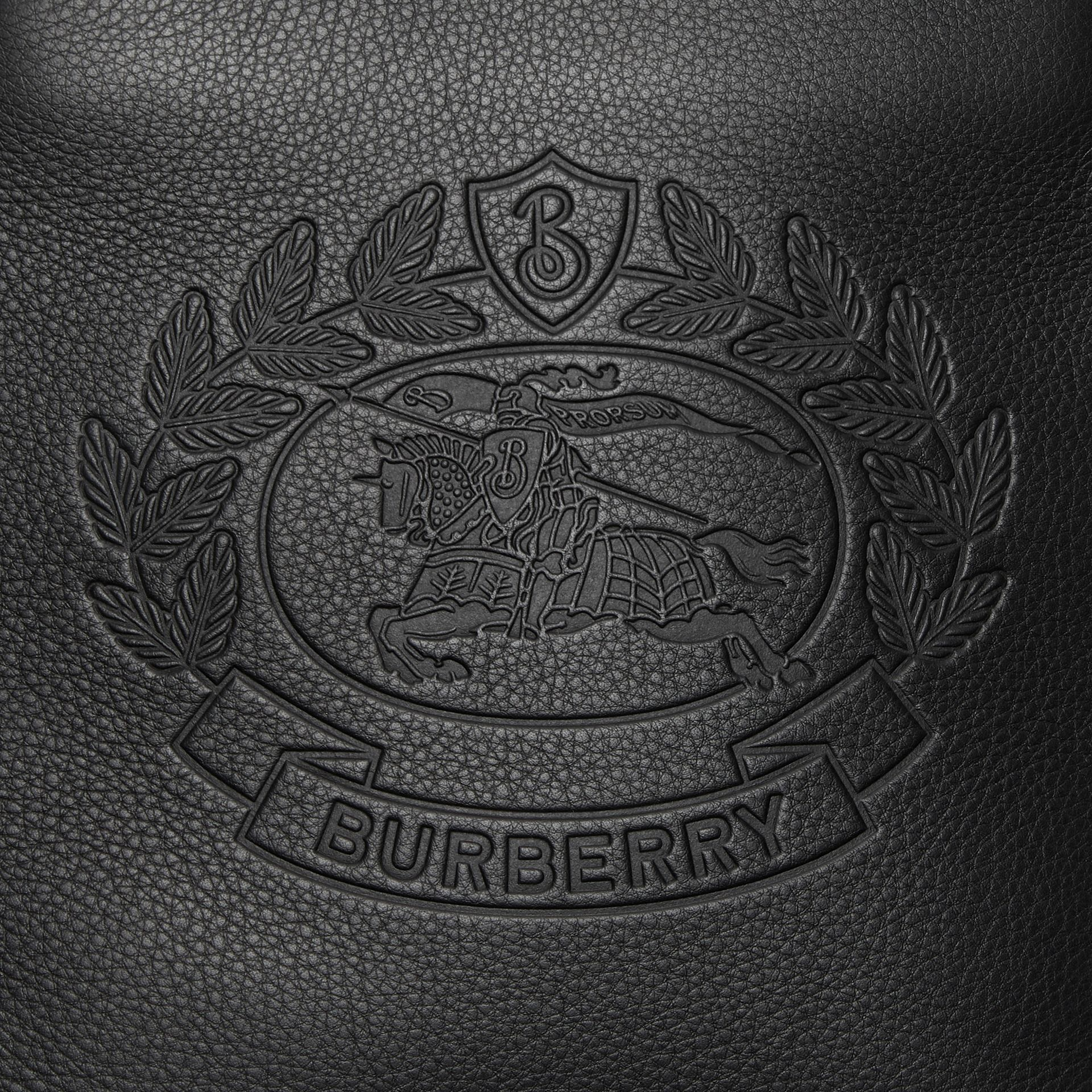 Small Embossed Crest Leather Crossbody Bag in Black - Men | Burberry - gallery image 1