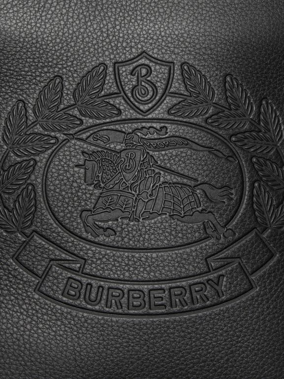 Small Embossed Crest Leather Crossbody Bag in Black - Men | Burberry - cell image 1
