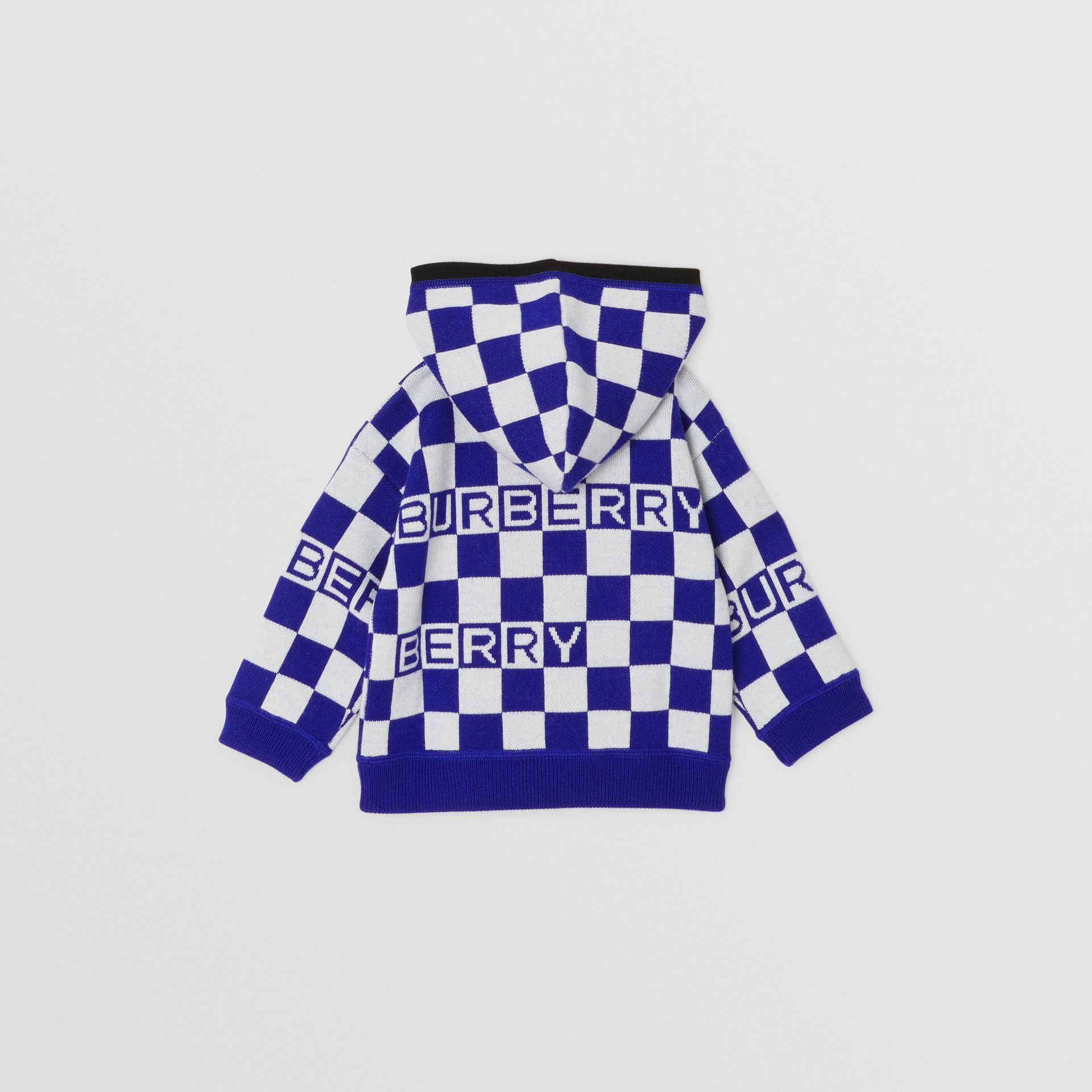 Chequer Merino Wool Hooded Top in Cobalt Blue - Children | Burberry - gallery image 3
