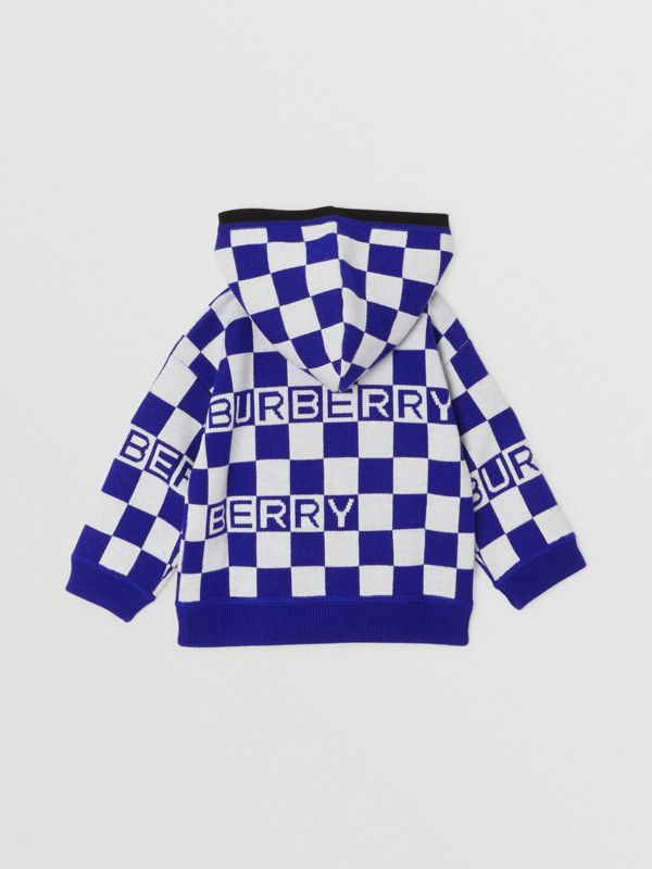 Chequer Merino Wool Hooded Top in Cobalt Blue - Children | Burberry - cell image 3