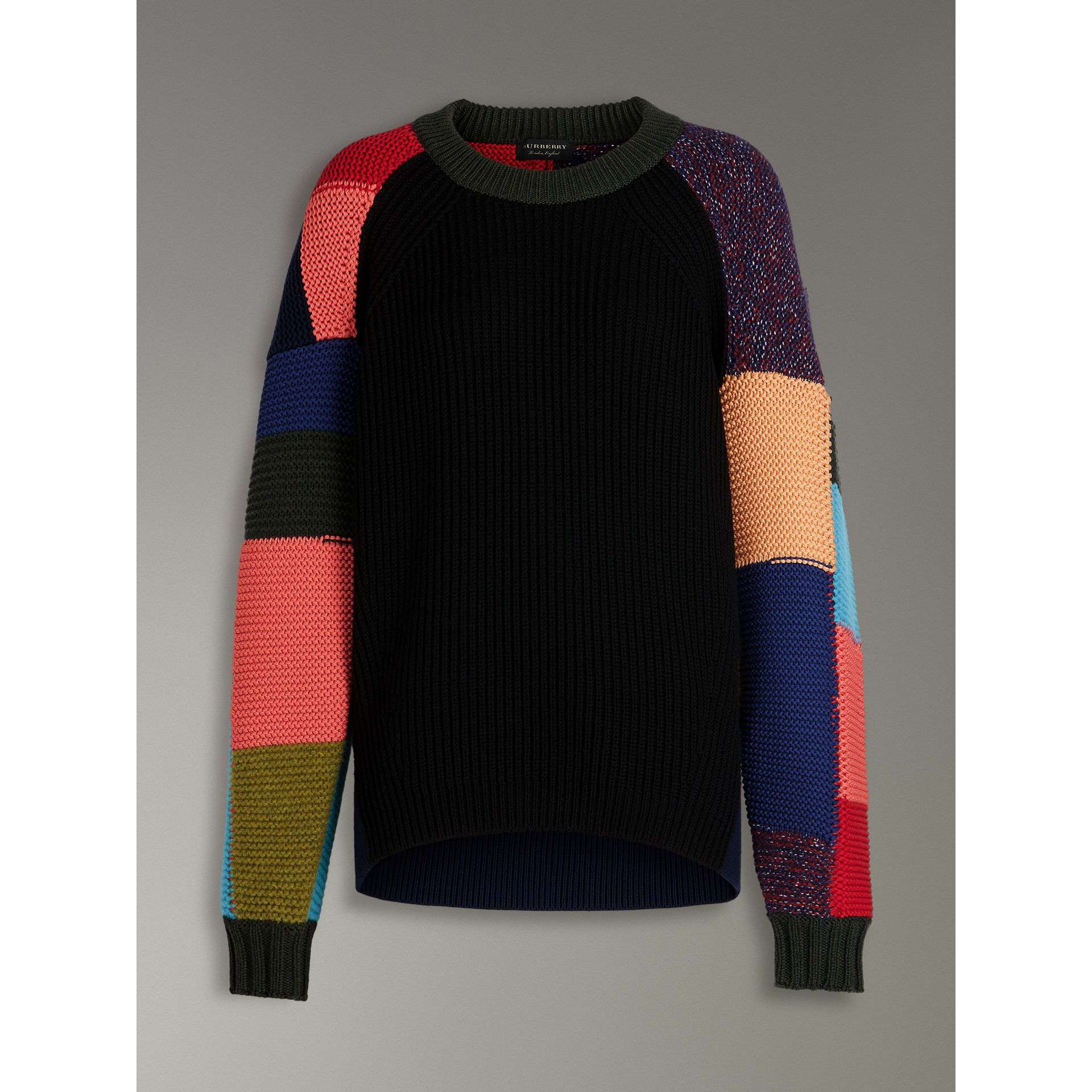 Patchwork Wool Blend Sweater in Multicolour - Women | Burberry Singapore - gallery image 3