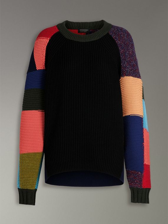 Patchwork Wool Cashmere Blend Sweater in Multicolour - Women | Burberry - cell image 3