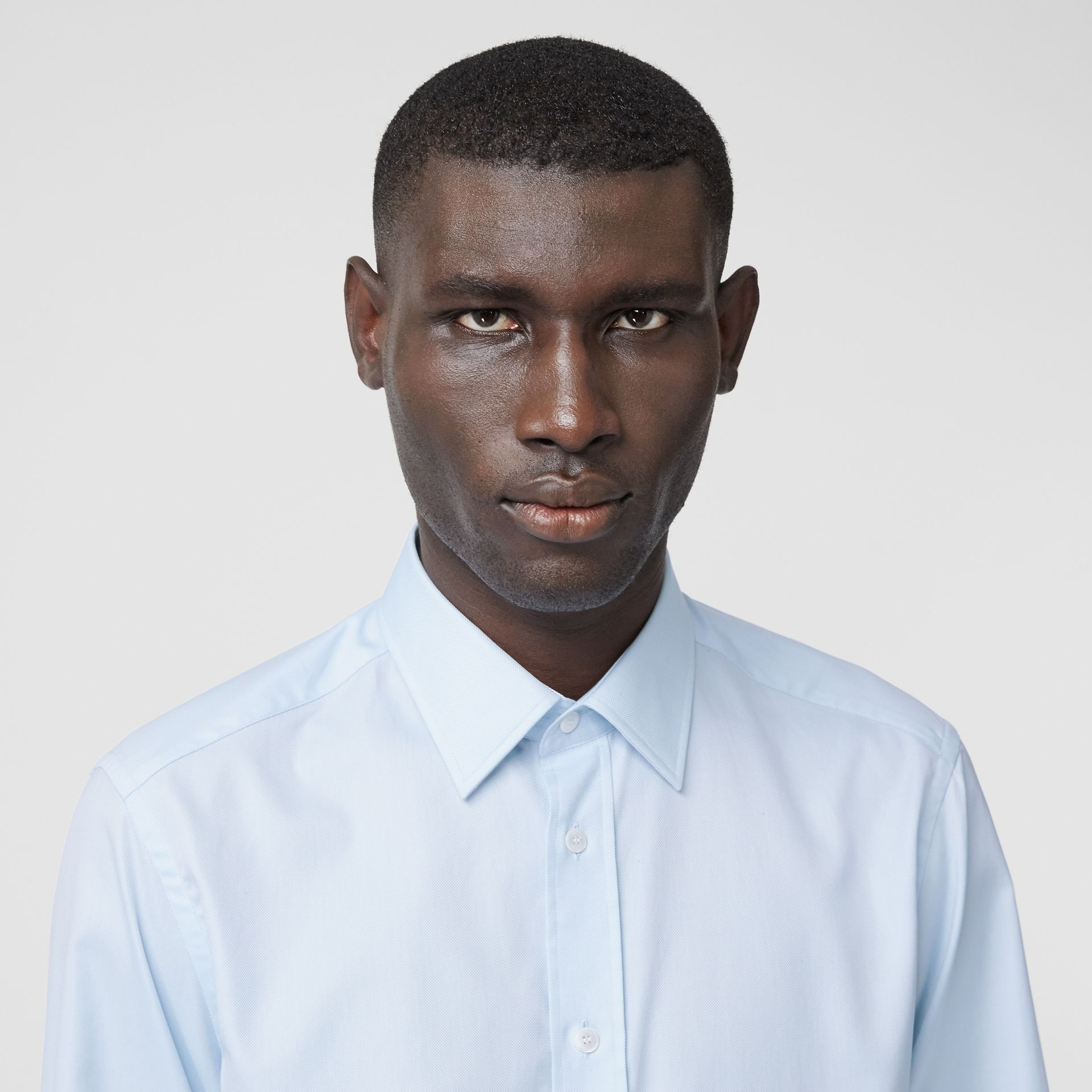 Classic Fit Monogram Motif Cotton Oxford Shirt in Pale Blue - Men | Burberry United Kingdom - gallery image 1