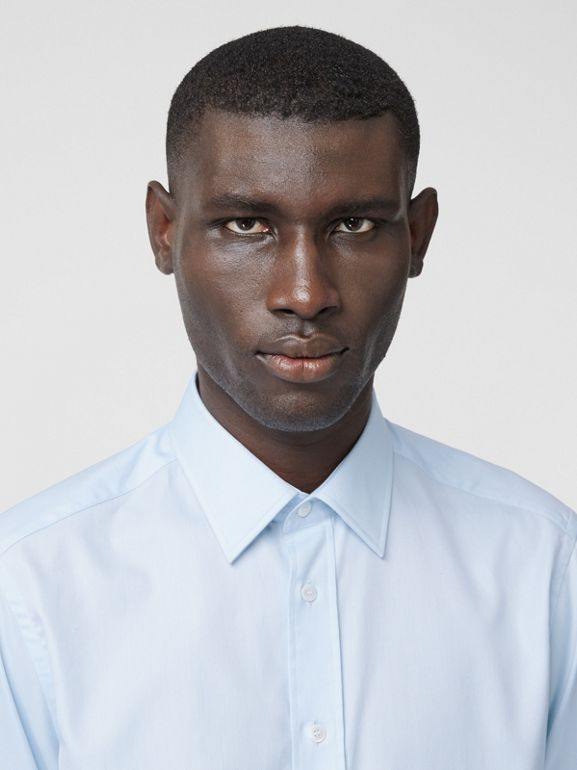 Classic Fit Monogram Motif Cotton Oxford Shirt in Pale Blue - Men | Burberry United Kingdom - cell image 1