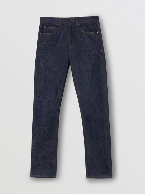 Straight Fit Japanese Selvedge Denim Jeans in Indigo