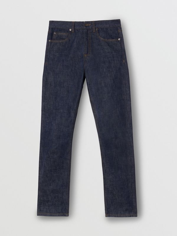 Straight Fit Japanese Selvedge Denim Jeans in Indigo - Women | Burberry Singapore - cell image 3
