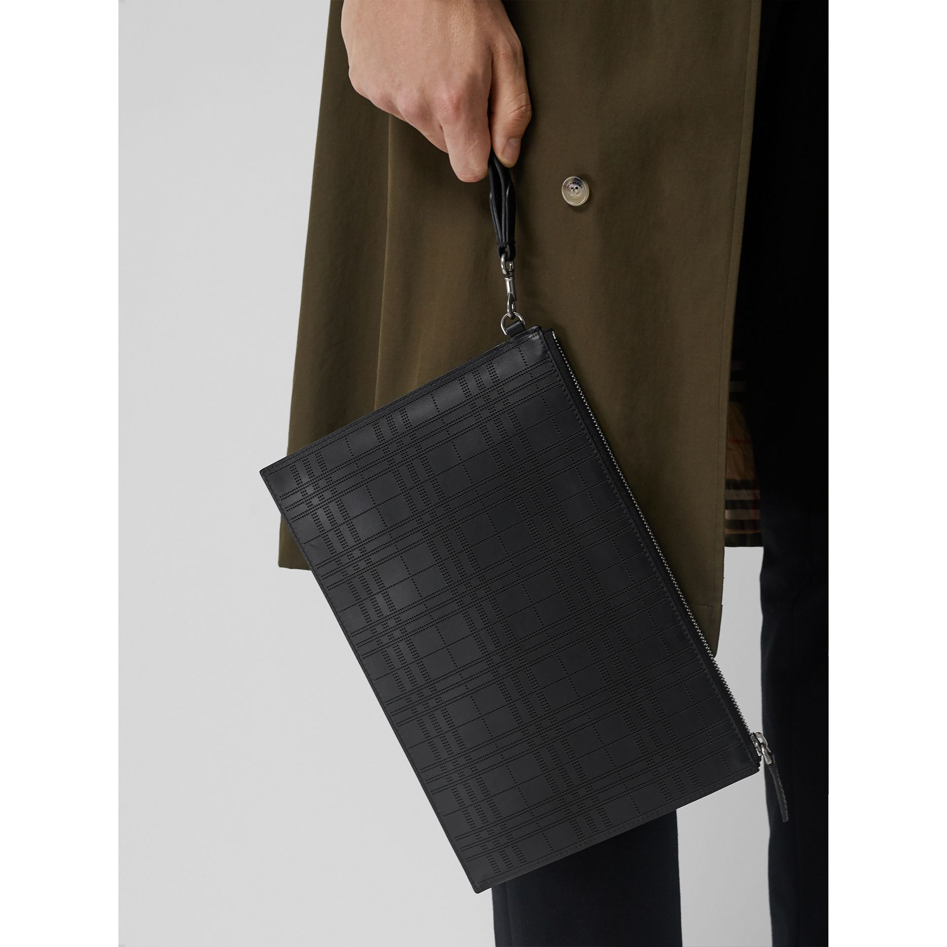 Perforated Check Leather Zip Pouch in Black - Men | Burberry - gallery image 3