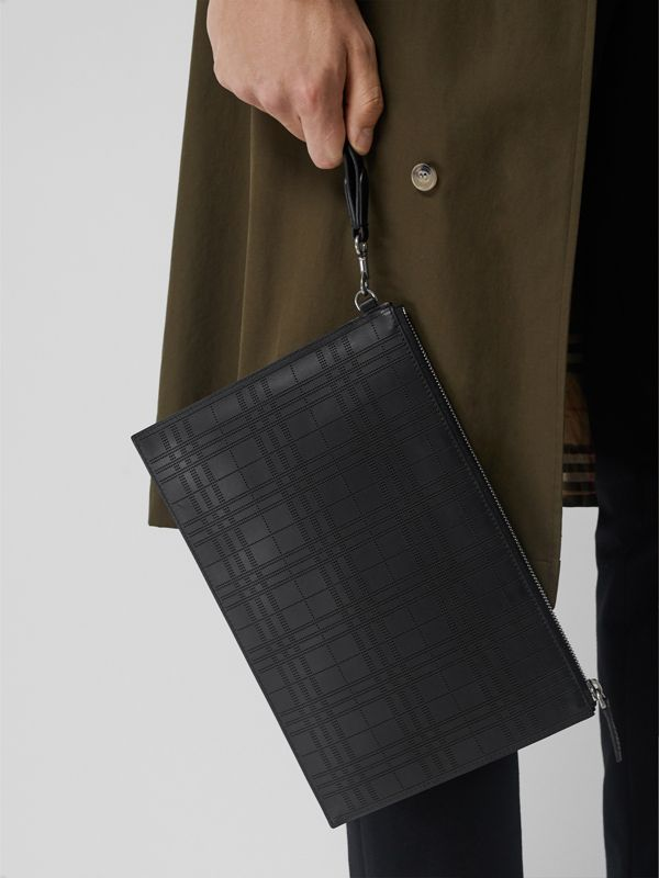 Perforated Check Leather Zip Pouch in Black - Men | Burberry - cell image 3