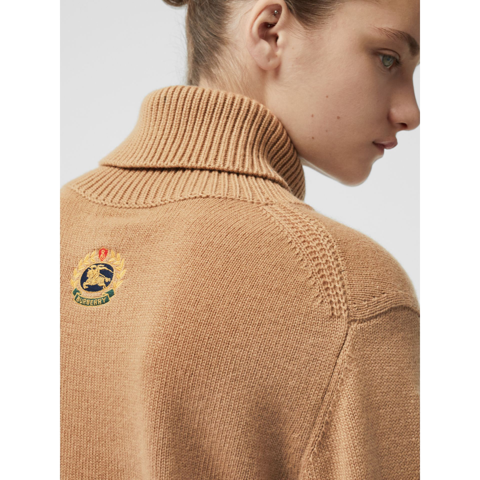 Embroidered Crest Cashmere Roll-neck Sweater in Camel - Women | Burberry United States - gallery image 1