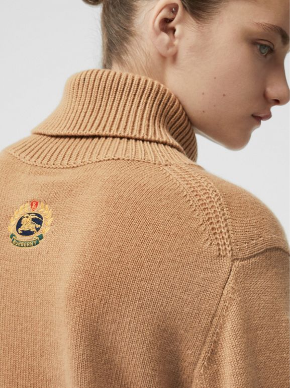 Embroidered Crest Cashmere Roll-neck Sweater in Camel - Women | Burberry Hong Kong - cell image 1