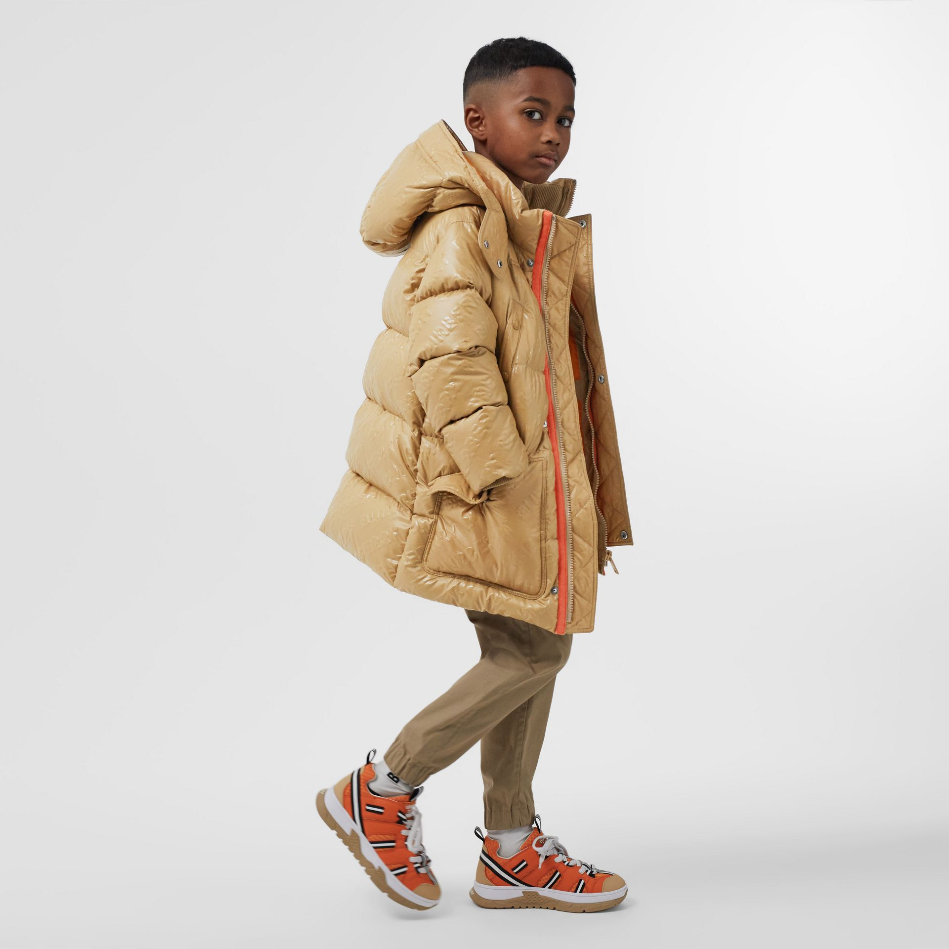 Detachable Hood Embossed Logo Puffer Coat in Honey | Burberry Hong Kong S.A.R - gallery image 3