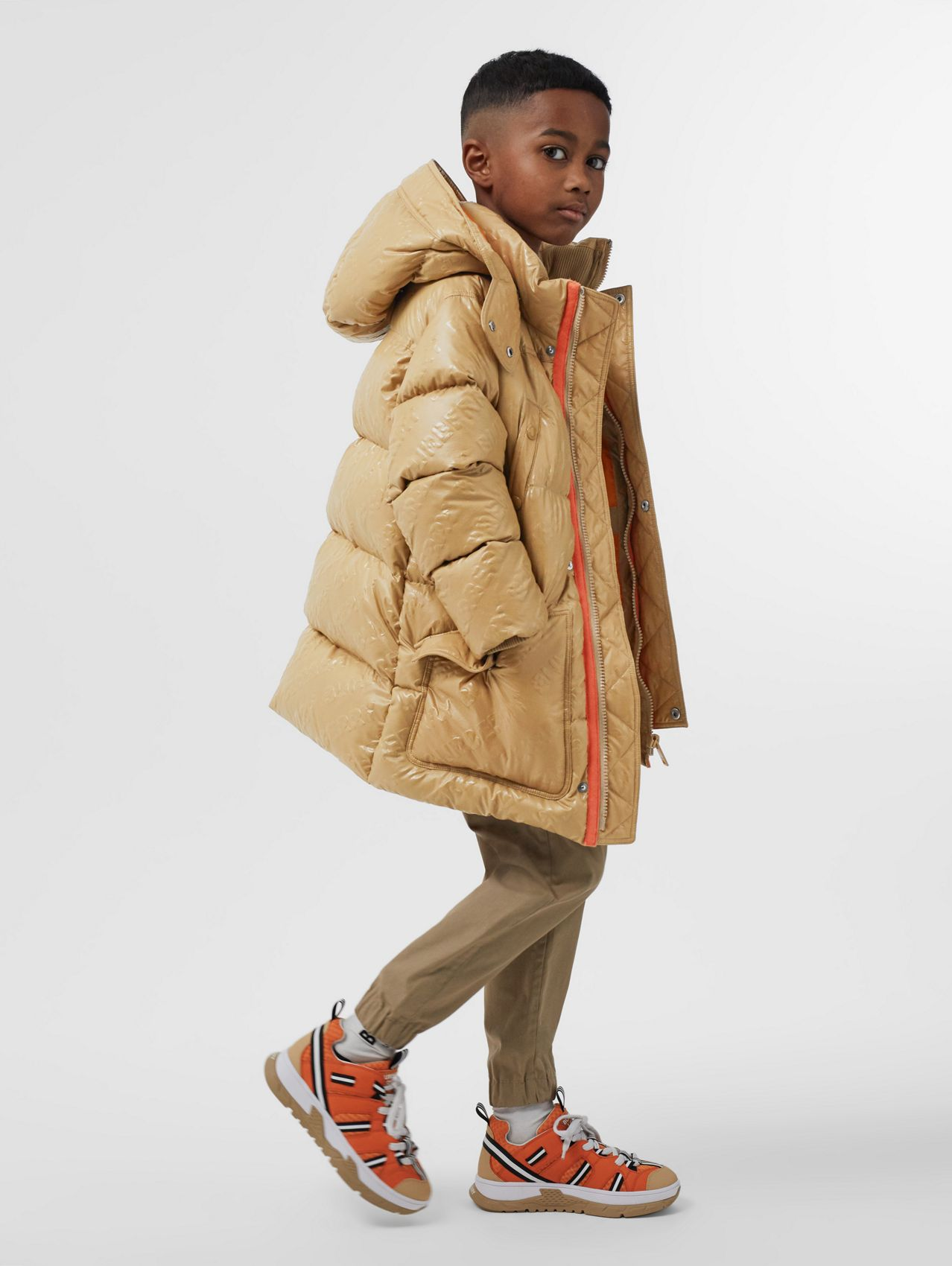 Detachable Hood Embossed Logo Puffer Coat in Honey