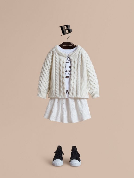 Cable Knit Wool Cashmere Cardigan in Natural White