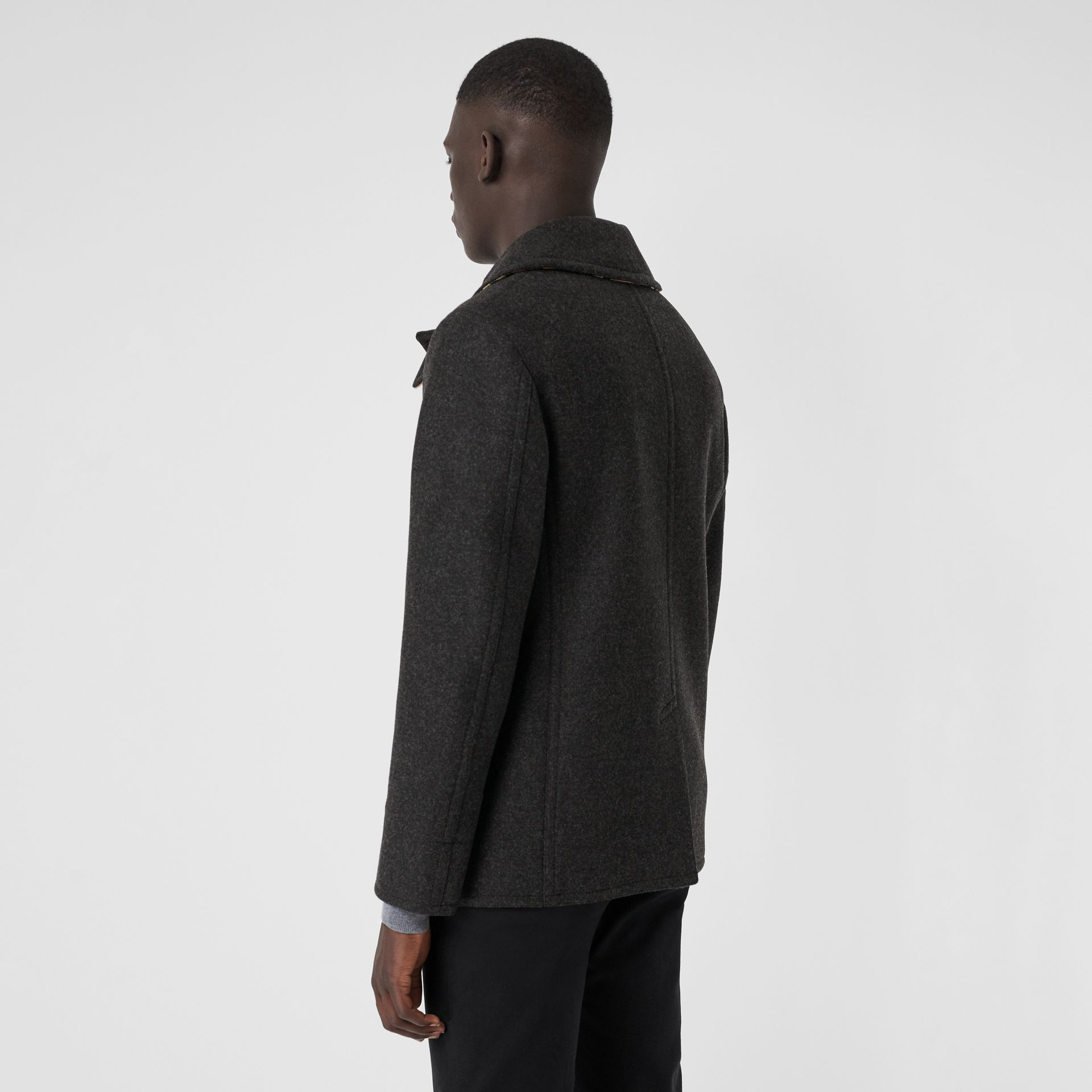 Wool Blend Pea Coat in Dark Charcoal Melange - Men | Burberry Australia - gallery image 2