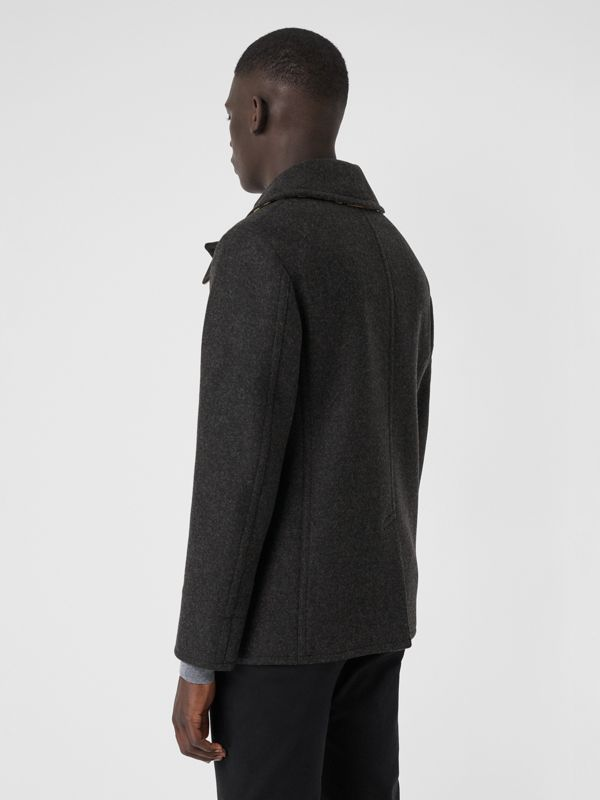 Wool Blend Pea Coat in Dark Charcoal Melange - Men | Burberry Australia - cell image 2