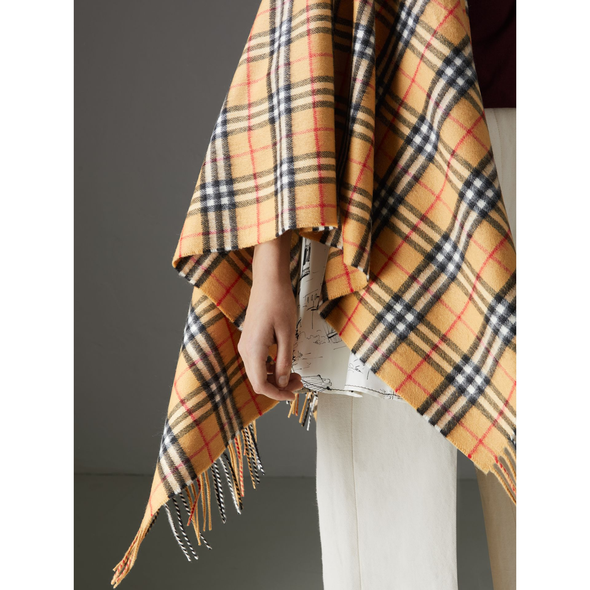 Vintage Check Cashmere Wool Poncho in Antique Yellow - Women | Burberry - gallery image 1