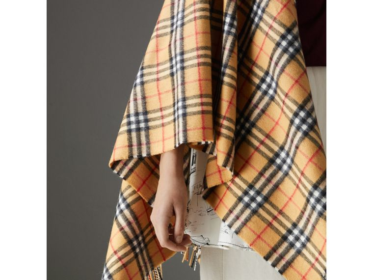 Vintage Check Cashmere Wool Poncho in Antique Yellow - Women | Burberry - cell image 1