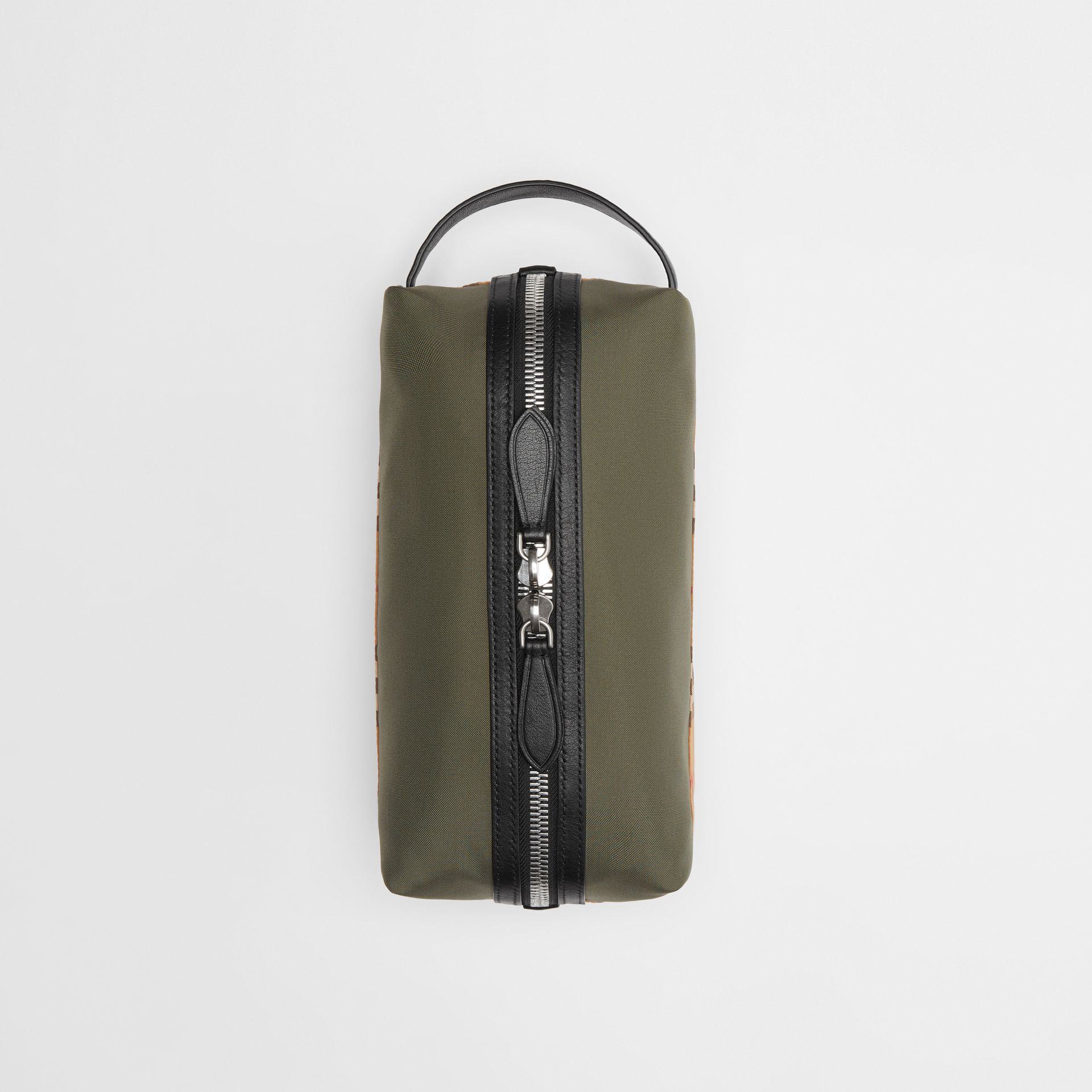 Vintage Check and Colour Block Pouch in Military Green/vintage | Burberry - gallery image 0