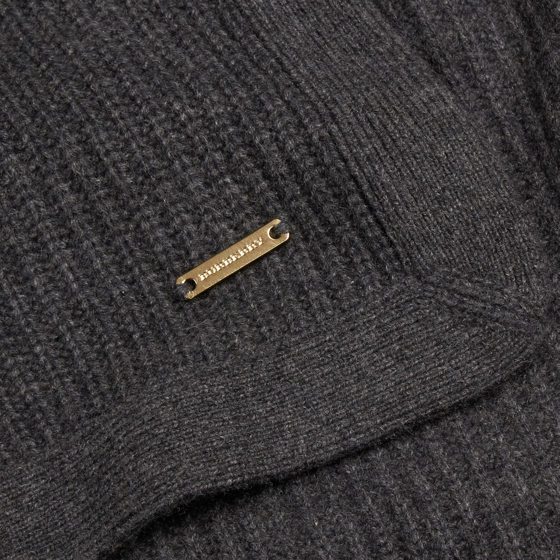 Grigio scuro mélange Coperta in cashmere con lavorazione a costine Grigio Scuro Mélange - immagine della galleria 2