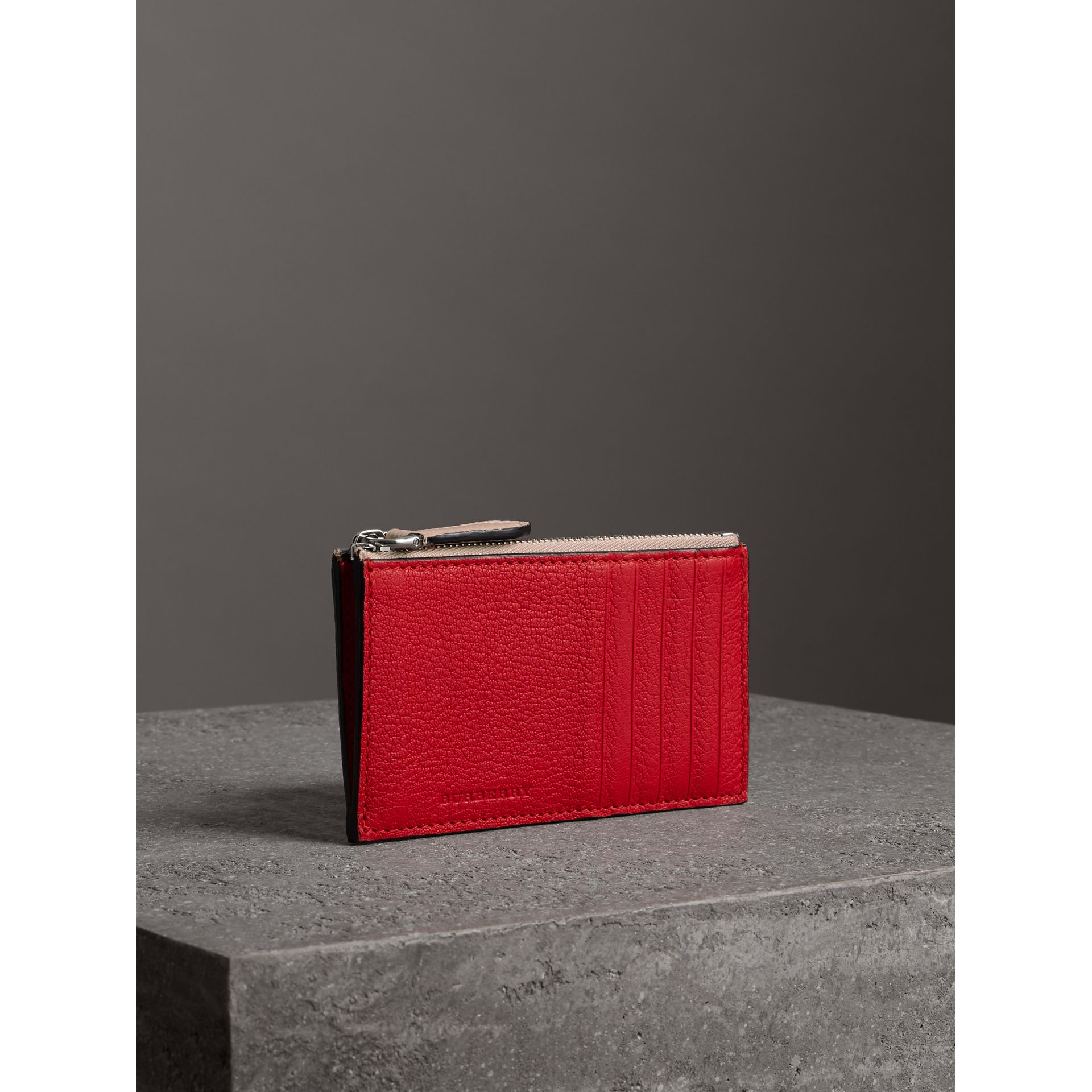 Two-tone Leather Zip Card Case in Bright Red | Burberry - gallery image 5