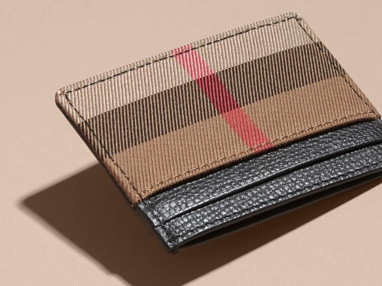 Porte-cartes en cuir grainé et coton House check