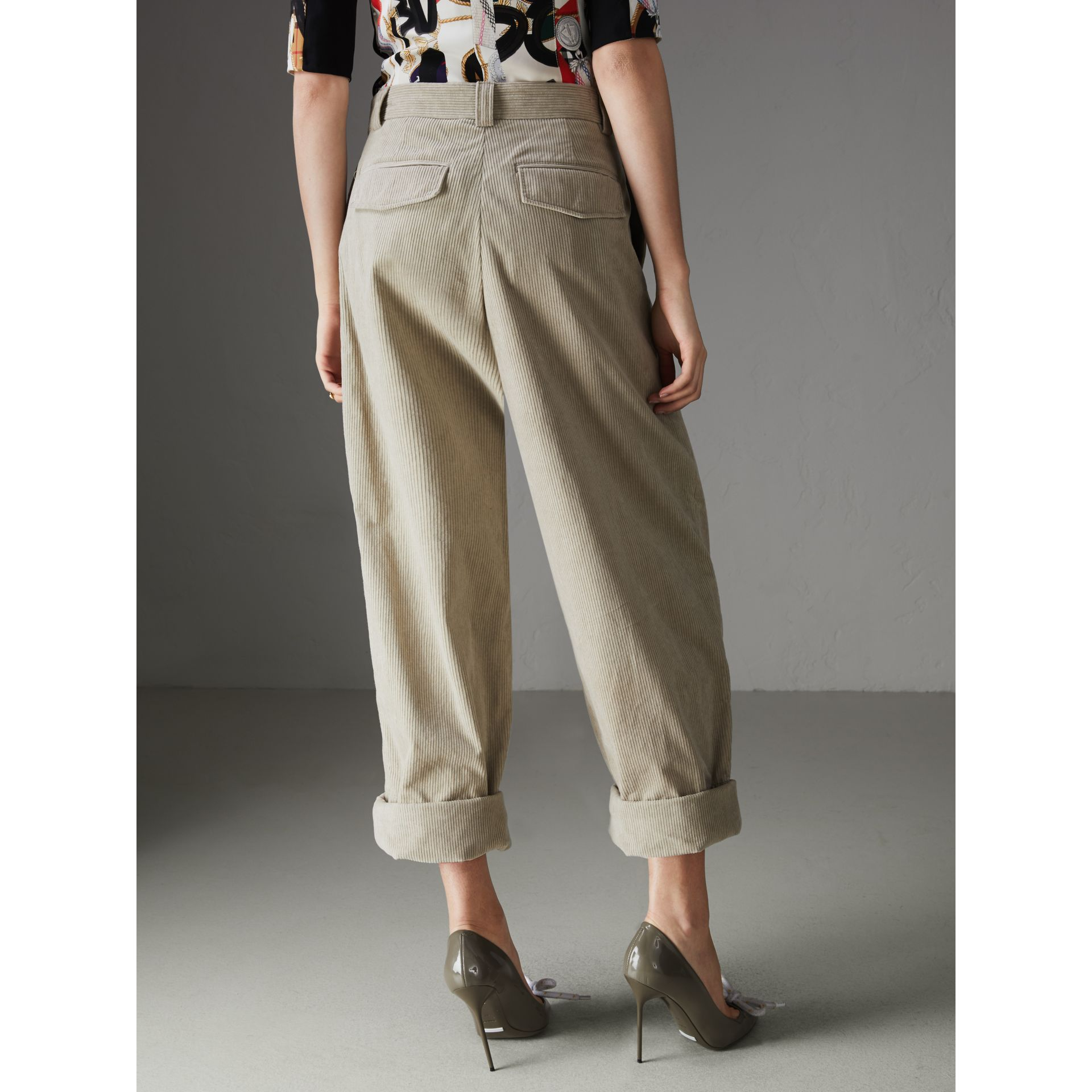 Roll-up Cuff Cotton Corduroy Trousers in Stone - Women | Burberry - gallery image 2