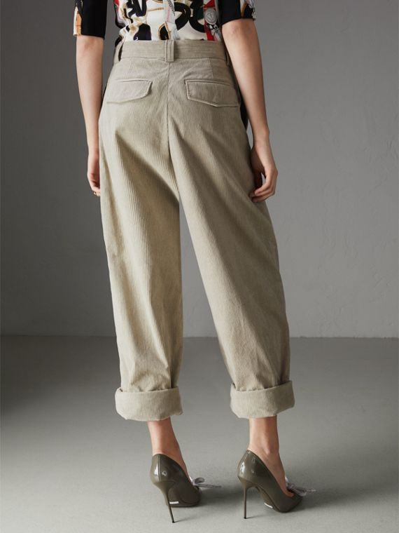 Roll-up Cuff Cotton Corduroy Trousers in Stone - Women | Burberry United Kingdom - cell image 2