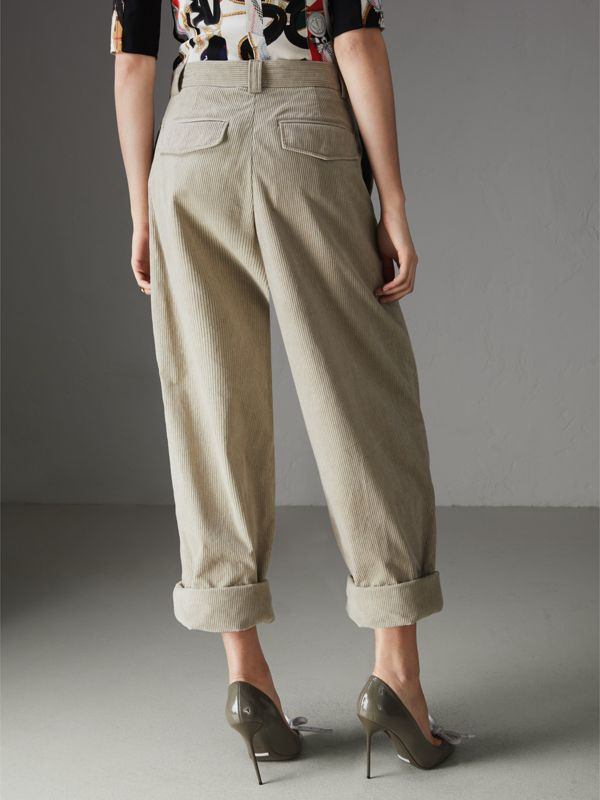 Roll-up Cuff Cotton Corduroy Trousers in Stone - Women | Burberry - cell image 2