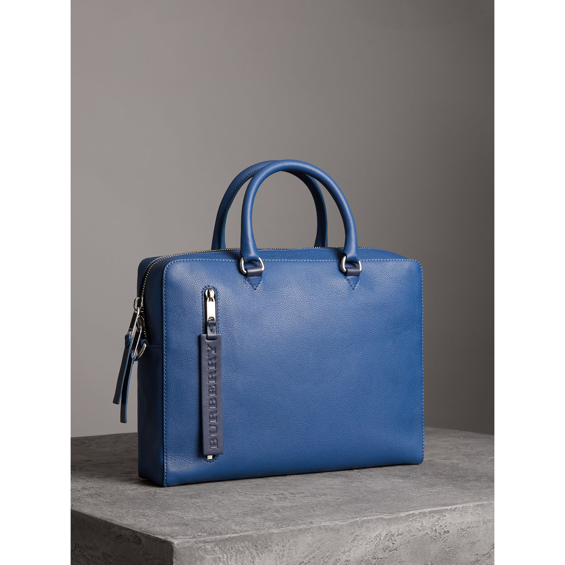 Grainy Leather Briefcase in Bright Ultramarine - Men | Burberry United States - gallery image 6