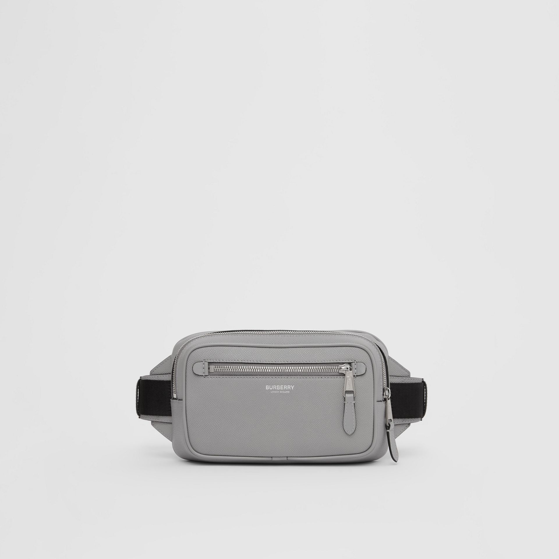 Grainy Leather Bum Bag in Cloud Grey - Men | Burberry United Kingdom - gallery image 0