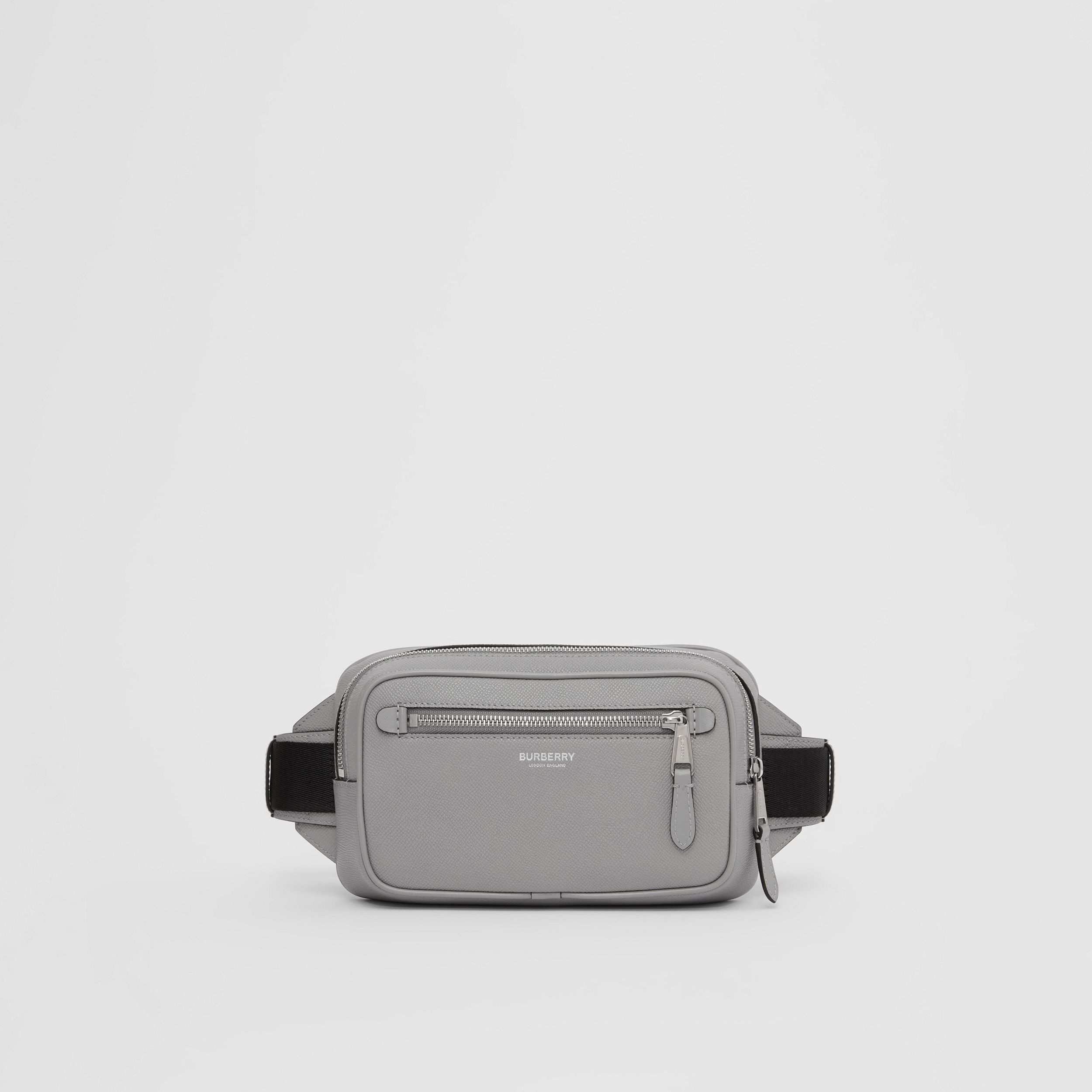 Grainy Leather Bum Bag in Cloud Grey - Men | Burberry - 1