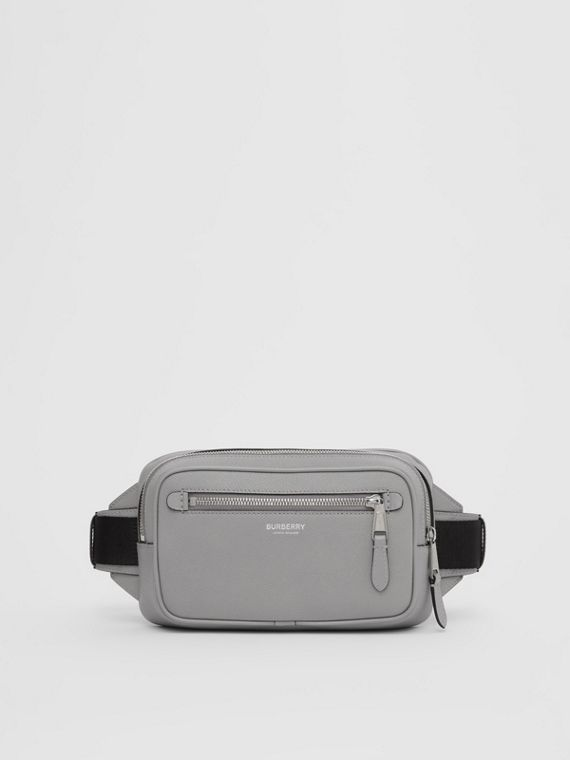 Grainy Leather Bum Bag in Cloud Grey