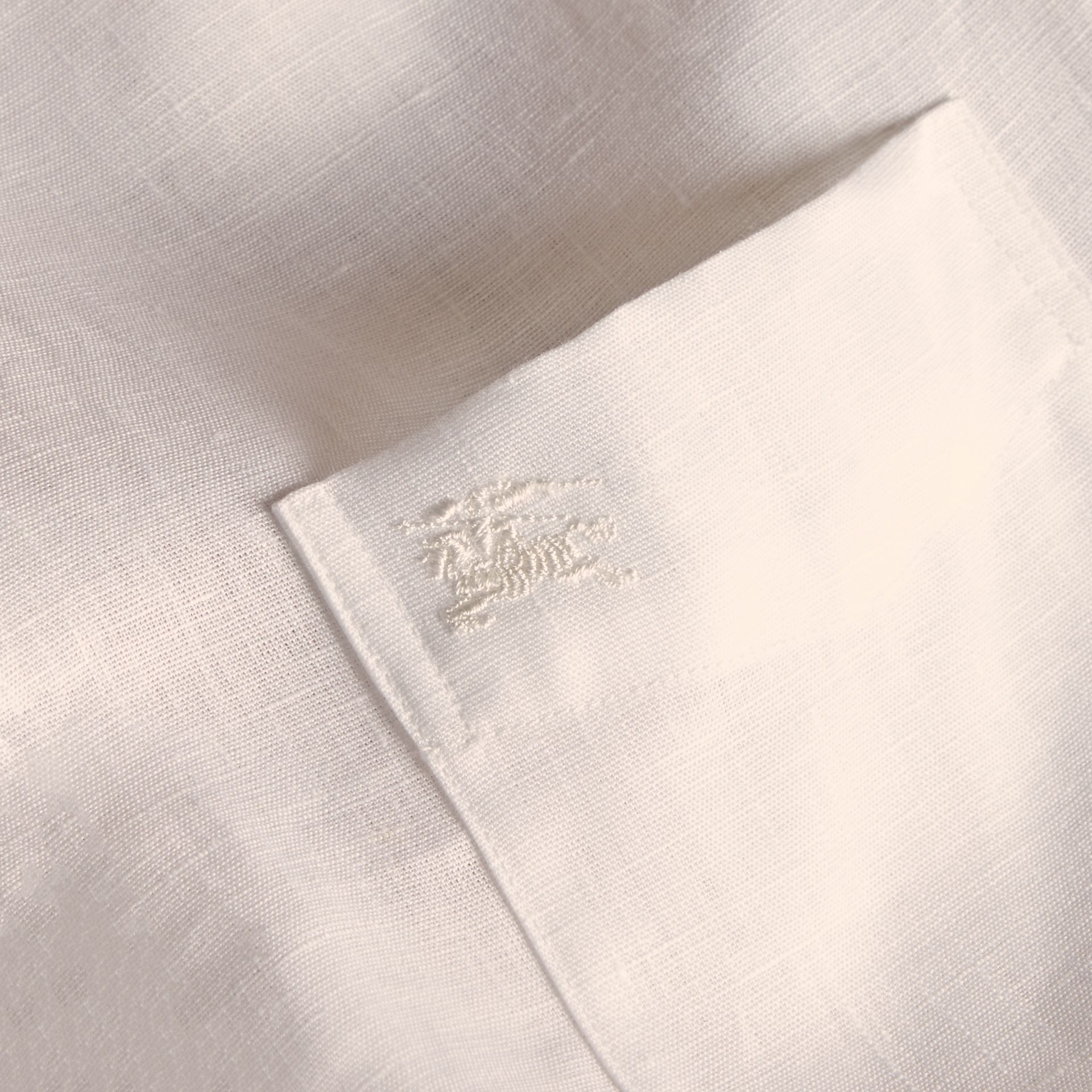 Check Detail Linen Shirt White - gallery image 2