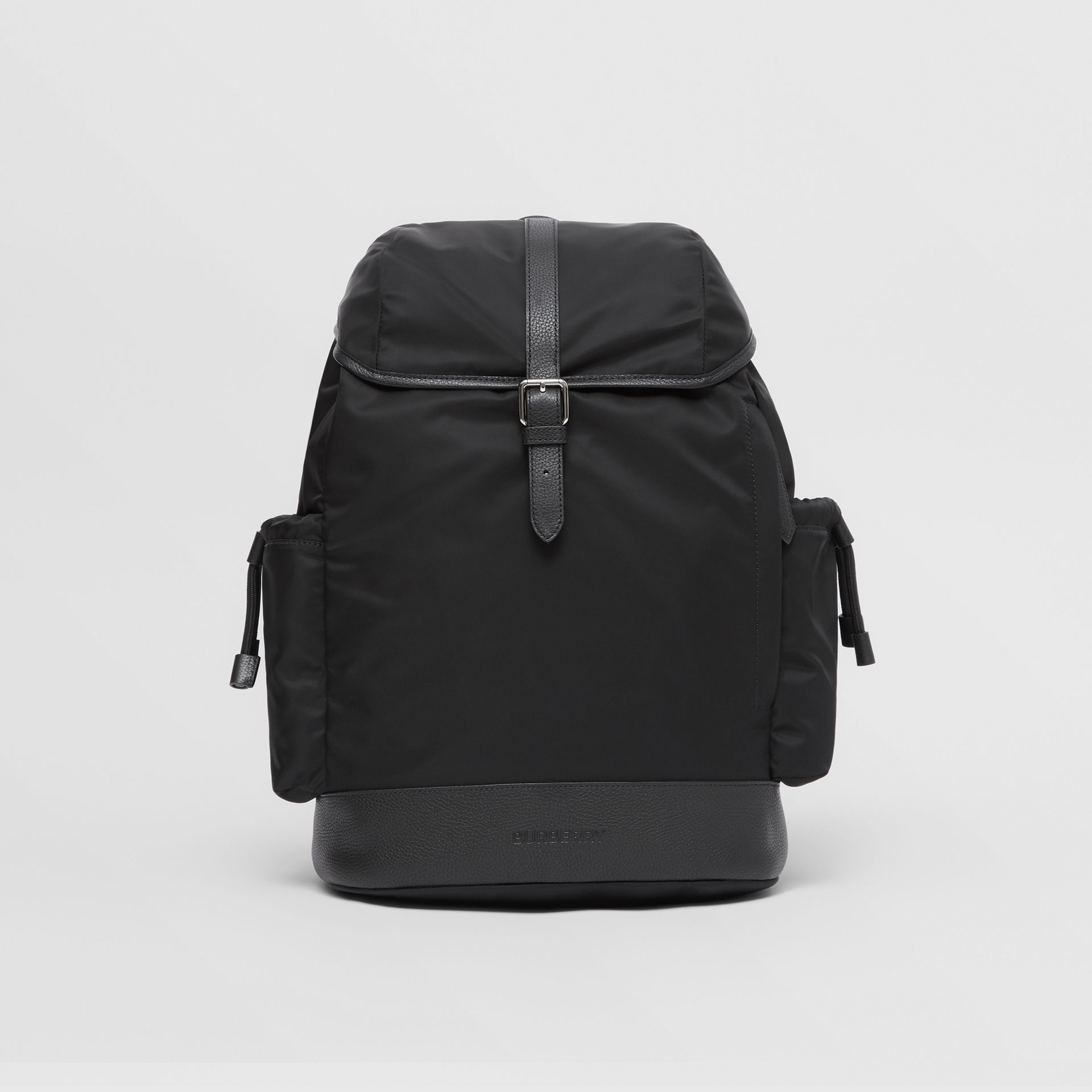 Leather Trim ECONYL® Baby Changing Backpack in Black - Children | Burberry - gallery image 0
