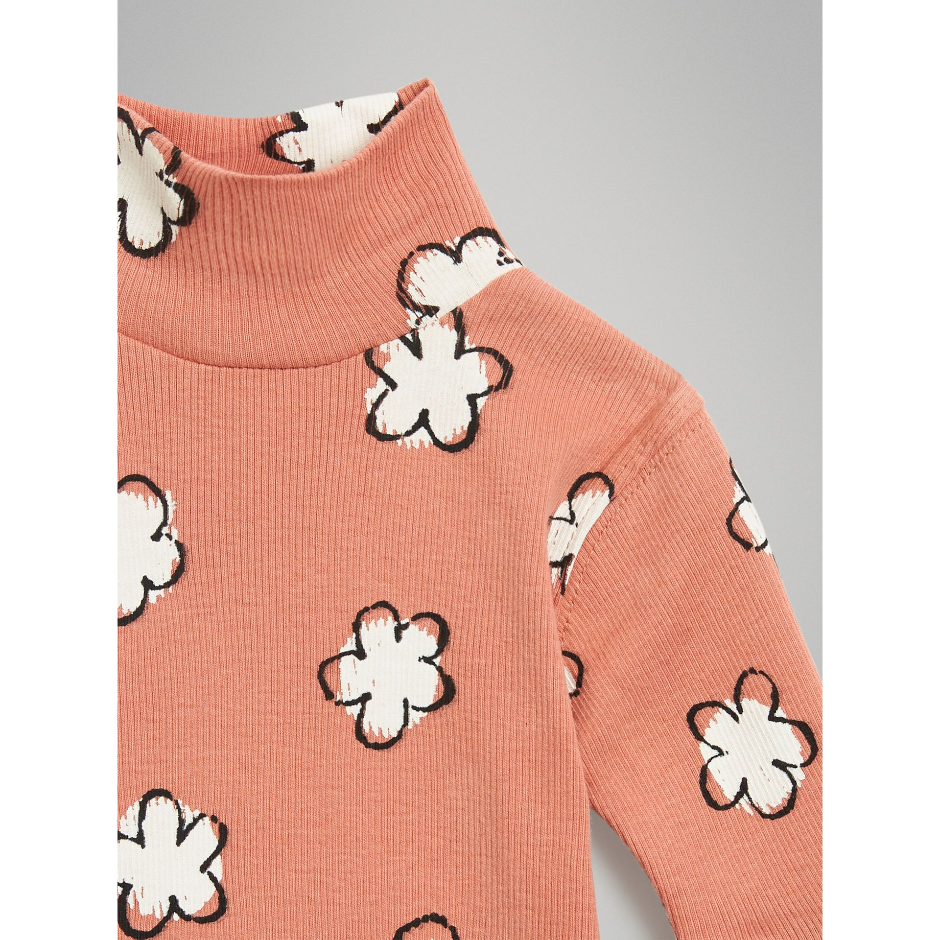 Flower Print Cotton Turtleneck Bodysuit in Dusty Pink - Children | Burberry - gallery image 4