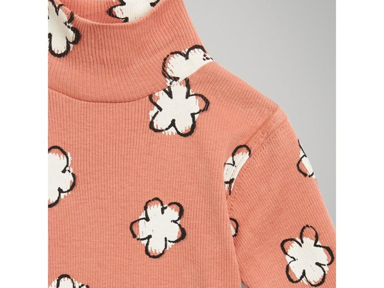 Flower Print Cotton Turtleneck Bodysuit in Dusty Pink | Burberry Australia - cell image 4
