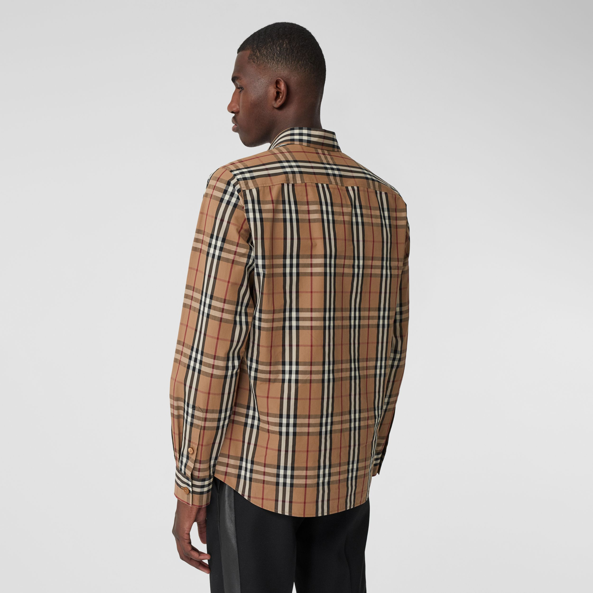 Vintage Check Cotton Poplin Shirt in Birch Brown - Men | Burberry - 3