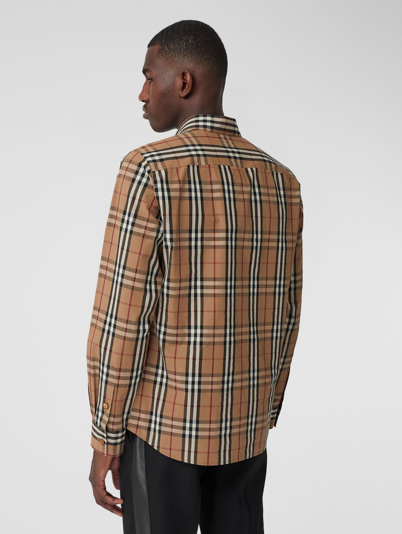 Vintage Check Cotton Poplin Shirt in Birch Brown