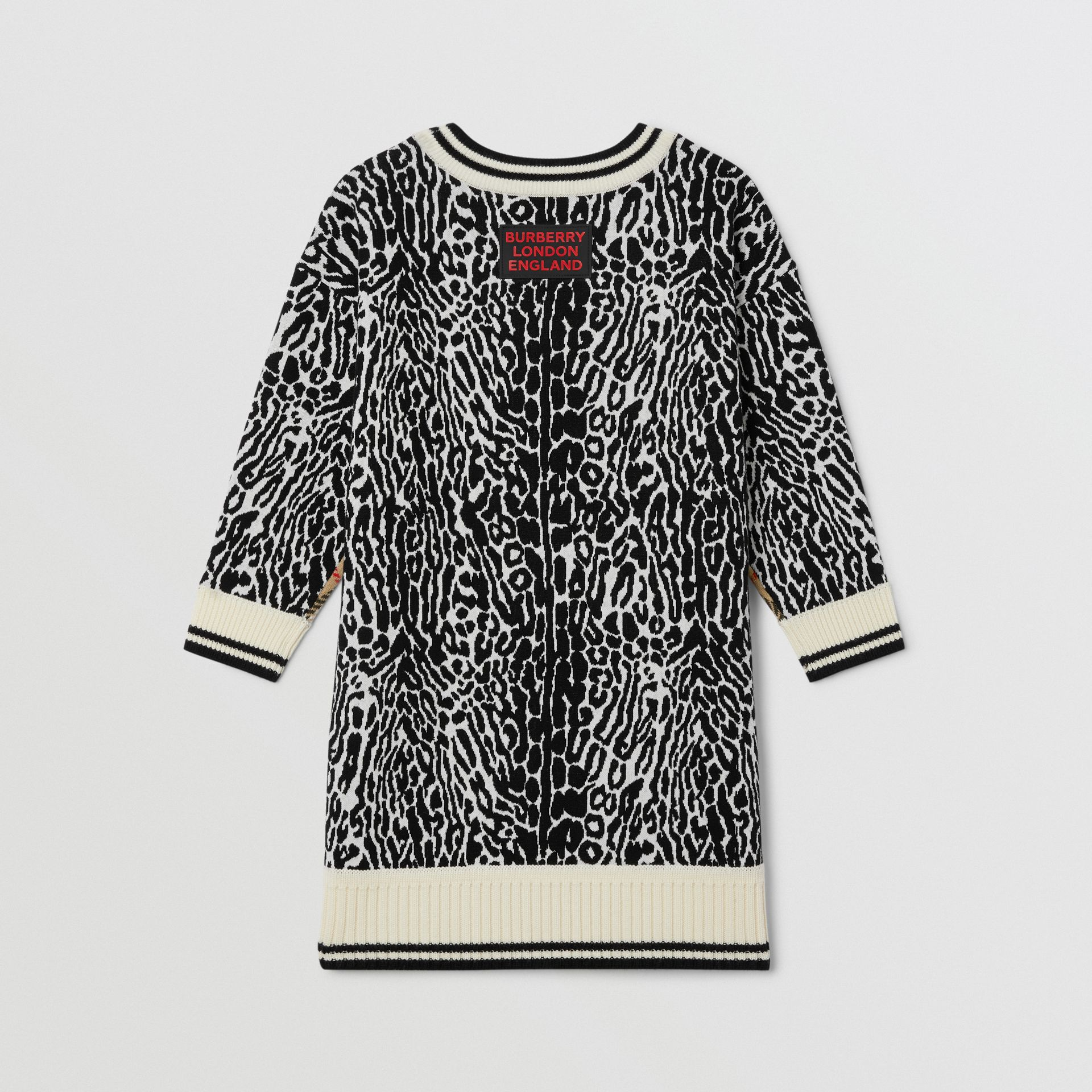 Check and Leopard Merino Wool Sweater Dress in Print | Burberry United Kingdom - gallery image 3