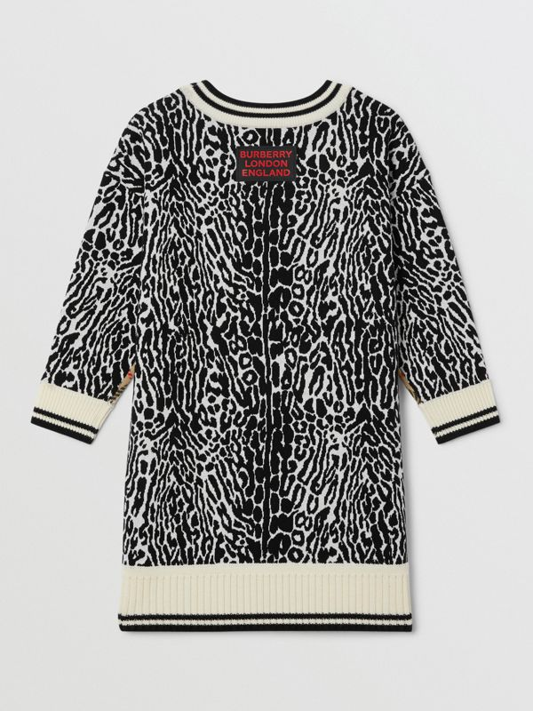 Check and Leopard Merino Wool Sweater Dress in Print | Burberry - cell image 3
