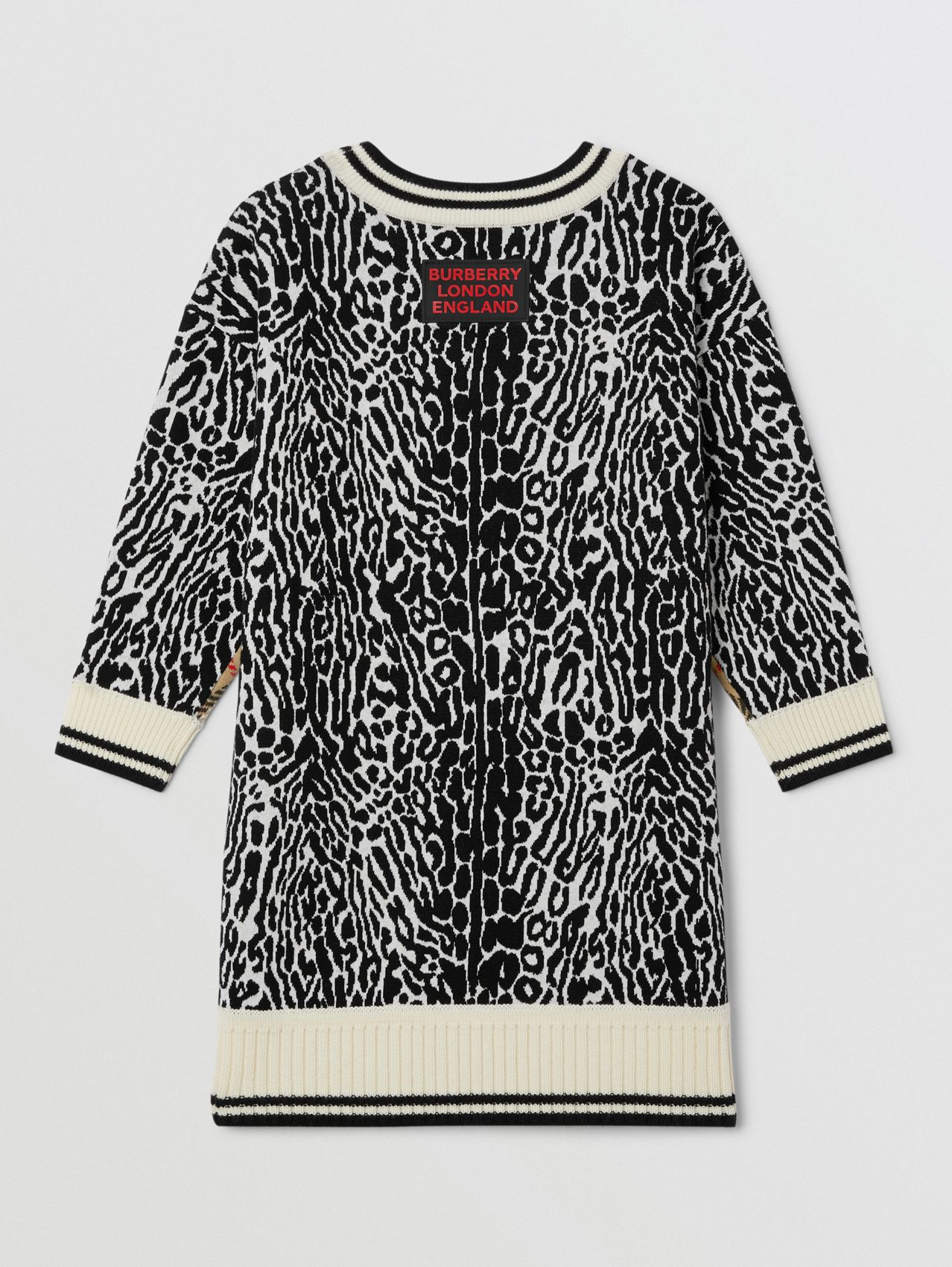Check and Leopard Merino Wool Sweater Dress in Print