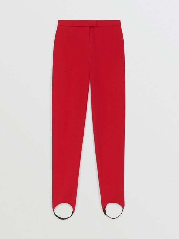 Long Cotton Blend Tailored Jodhpurs in Bright Red - Women | Burberry - cell image 3