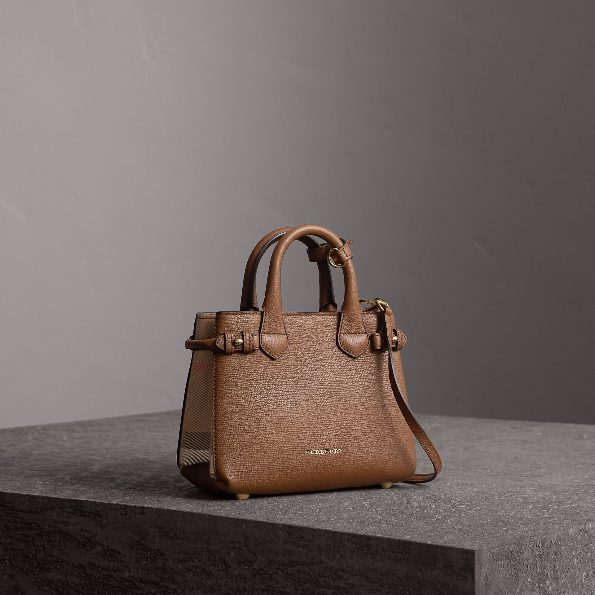 The Baby Banner in Leather and House Check in Tan - Women | Burberry Singapore - gallery image 0