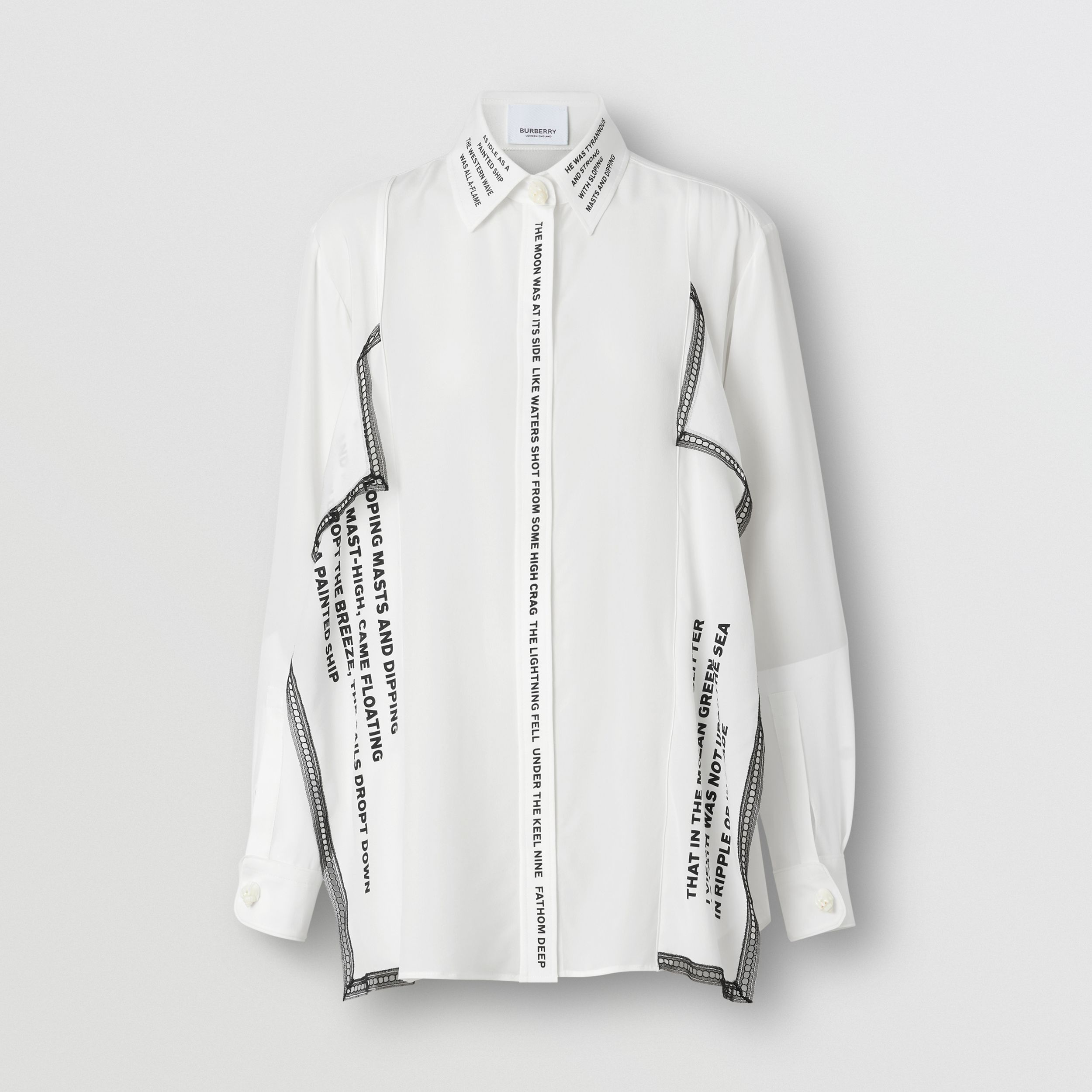 Mariner Print Lace Trim Silk Oversized Shirt in Natural White - Women | Burberry - 4