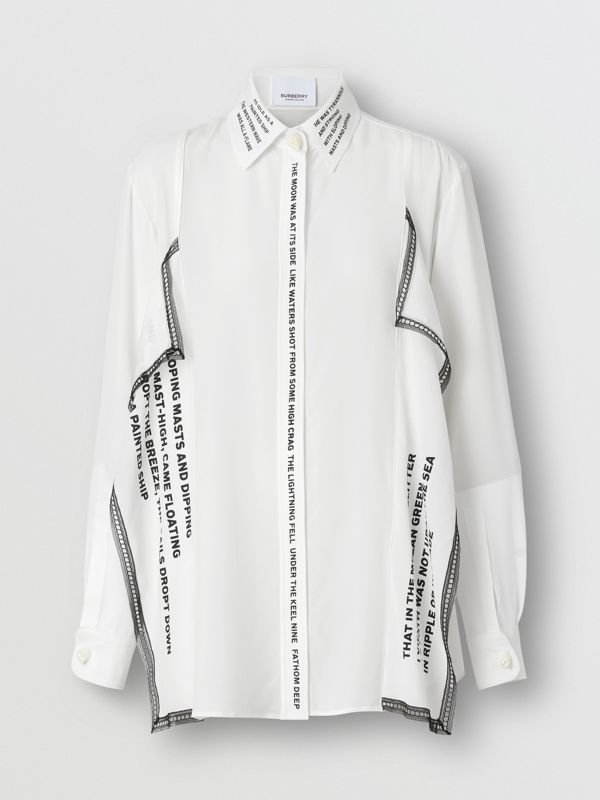 Mariner Print Lace Trim Silk Oversized Shirt in Natural White - Women | Burberry - cell image 3