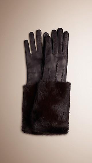 Mink Detail Leather Gloves